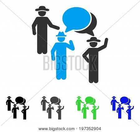 Gentlemen Discussion flat vector pictograph. Colored gentlemen discussion gray, black, blue, green pictogram variants. Flat icon style for graphic design.