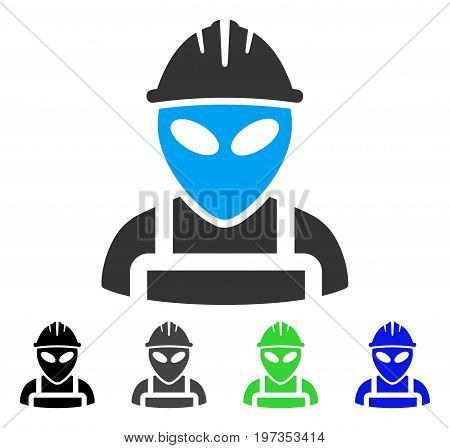Alien Worker flat vector icon. Colored alien worker gray, black, blue, green icon variants. Flat icon style for application design.