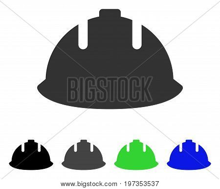 Builder Helmet flat vector illustration. Colored builder helmet gray, black, blue, green icon versions. Flat icon style for application design.