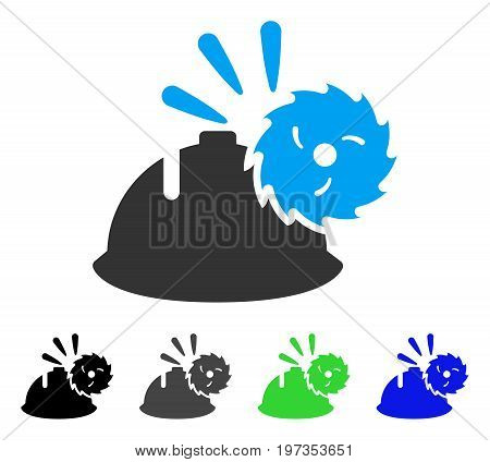 Circular Blade Head Protection flat vector illustration. Colored circular blade head protection gray, black, blue, green icon variants. Flat icon style for web design.