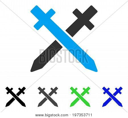 Crossing Swords flat vector icon. Colored crossing swords gray, black, blue, green pictogram versions. Flat icon style for application design.