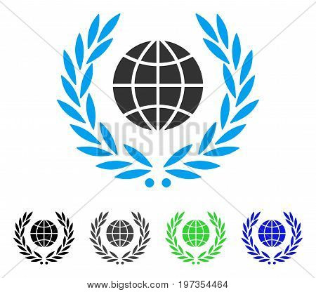 Global Emblem flat vector pictogram. Colored global emblem gray, black, blue, green icon variants. Flat icon style for graphic design.