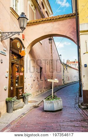 Tight Street With Archway In Old Town In Vilnius Baltic