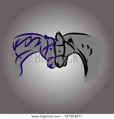 Two horse head. Drawing of lines, vector illustration