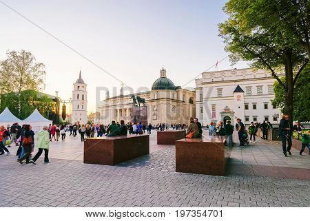 People At Royal Palace And Cathedral Square Vilnius Baltic