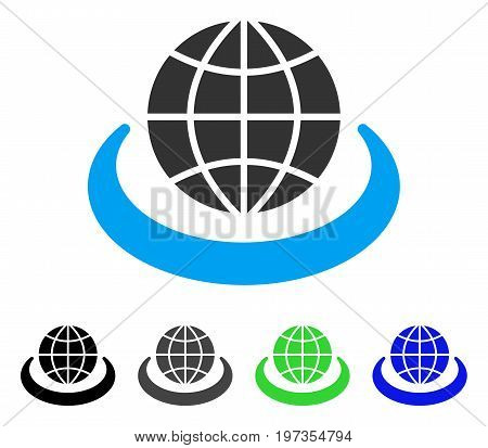 Global Network flat vector pictograph. Colored global network gray, black, blue, green icon variants. Flat icon style for web design.