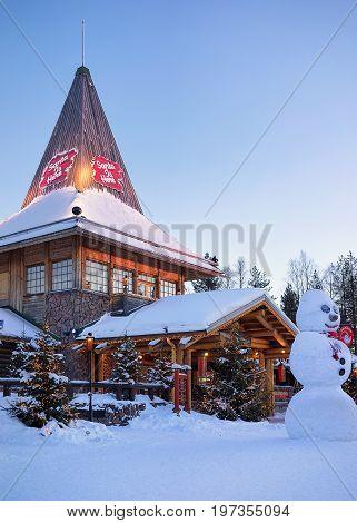 Santa Claus Office At Santa Village Finnish Lapland Scandinavia Dusk