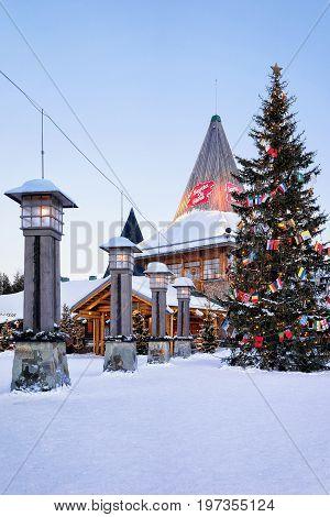 Santa Claus Office Santa Village Finnish Lapland Scandinavia Dusk