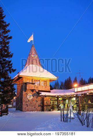 Santa Claus Main Post Office Lapland Scandinavia At Night