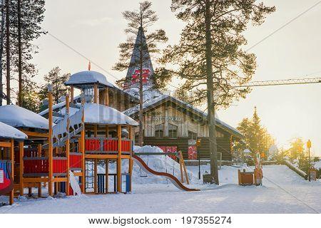 Playing Ground At Santa Claus Village In Lapland Scandinavia
