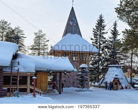 People In Santa Claus Main Post Office In Lapland Scandinavia