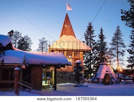 Santa Claus Main Post Office In Lapland Scandinavia At Night