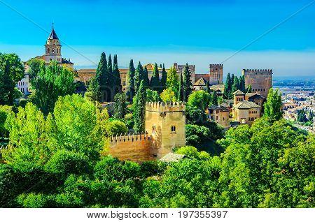 Panoramic night view of Alhambra, Granada, Andalusia, Spain Europe