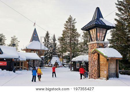 People At Santa Claus Main Post Office In Lapland Scandinavia