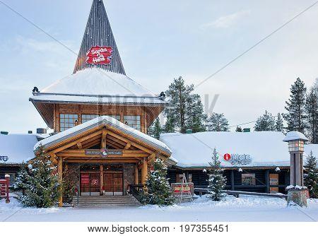 Entrance In Santa Claus Village In Lapland Scandinavia