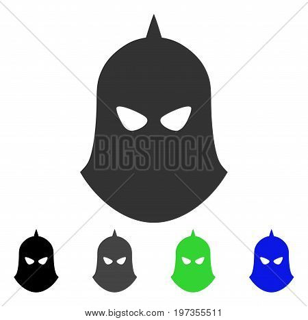 Knight Helmet flat vector pictograph. Colored knight helmet gray, black, blue, green pictogram versions. Flat icon style for graphic design.