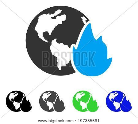 Planet Flame flat vector illustration. Colored planet flame gray, black, blue, green pictogram variants. Flat icon style for web design.