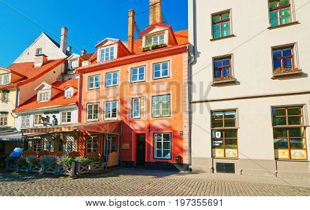Street Open Air Cafe In Historical Center In Riga Baltic