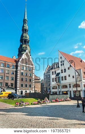 St Peter Church And People City Hall Square Riga Baltic