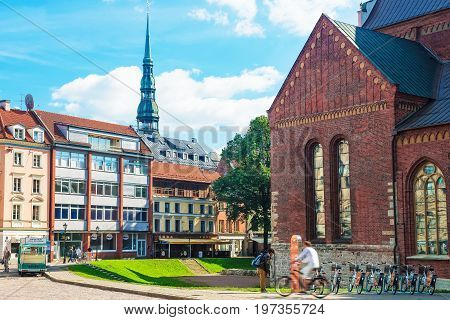 St Peter Church And People On Cathedral Square Riga Baltic