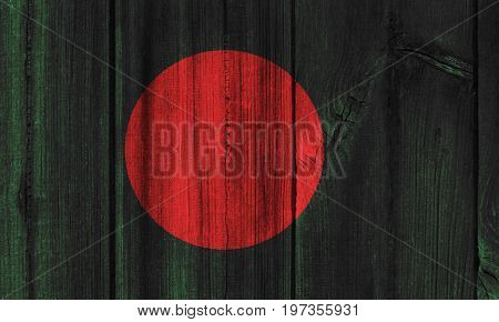 Bangladesh Flag Painted On Wooden Wall For Background