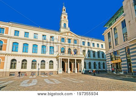 City Council On City Hall Square In Riga Baltic