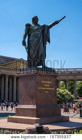Saint Petersburg, Russia - June 17, 2017: Monument to Marshal Kutuzov in front of Kazan Cathedral. Established in 1837 under the project of sculptor Orlovsky.