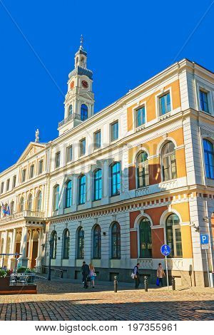 City Council At City Hall Square In Riga Baltic