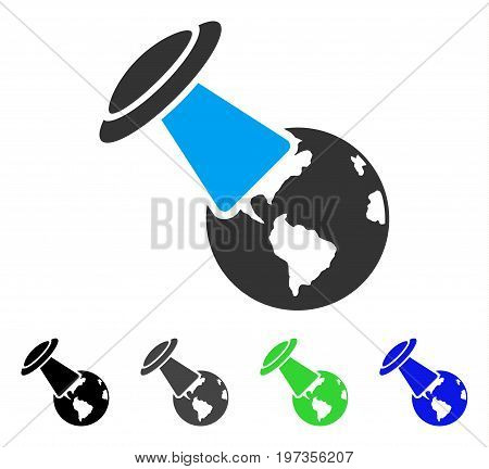 UFO Explores Earth flat vector pictograph. Colored ufo explores earth gray, black, blue, green icon variants. Flat icon style for application design.