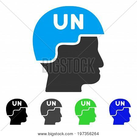 United Nations Soldier Helmet flat vector pictogram. Colored united nations soldier helmet gray, black, blue, green pictogram versions. Flat icon style for application design.