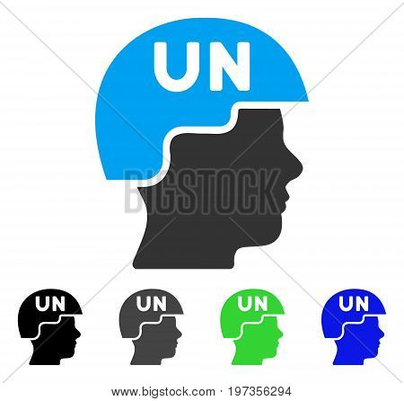 United Nations Soldier Helmet flat vector illustration. Colored united nations soldier helmet gray, black, blue, green icon variants. Flat icon style for graphic design.