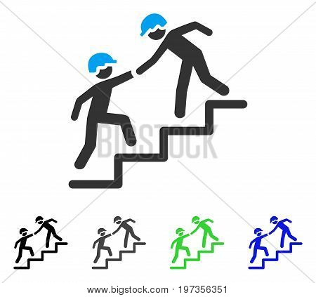 Workers Help flat vector pictogram. Colored workers help gray, black, blue, green pictogram versions. Flat icon style for graphic design.