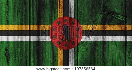 Dominica Flag Painted On Wooden Wall For Background