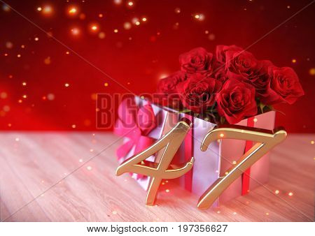 birthday concept with red roses in the gift on wooden desk. 3D render - forty-seventh birthday. 47th