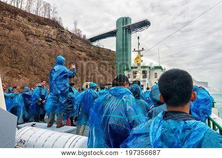 People Aboard At Niagara Falls In America