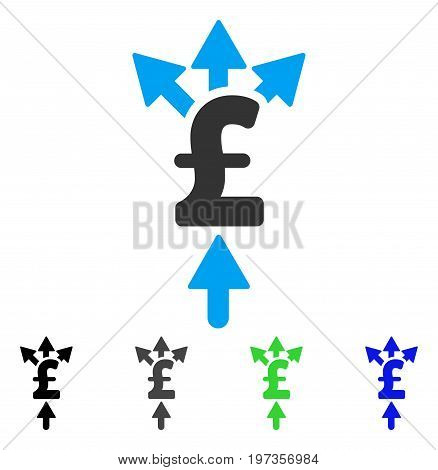 Divide Pound Payment flat vector illustration. Colored divide pound payment gray, black, blue, green pictogram variants. Flat icon style for application design.