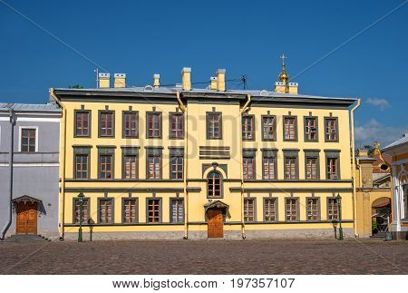 Building on the territory of the Peter and Paul fortress in Saint-Petersburg. To the right of this building there are boat house and the Peter and Paul Cathedral.