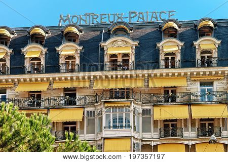 Facade Of Luxury Hotel At Geneva Lake Montreux Swiss Riviera