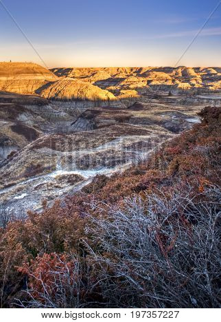 Sunrise at Horseshoe Canyon in the Alberta Bandlands near Drumheller, Alberta, Canada