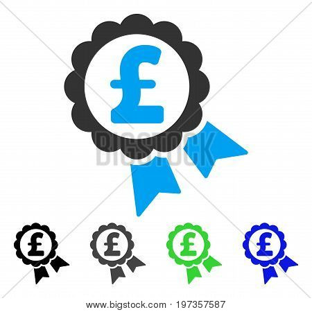 Featured Pound Price Label flat vector pictograph. Colored featured pound price label gray, black, blue, green pictogram versions. Flat icon style for graphic design.