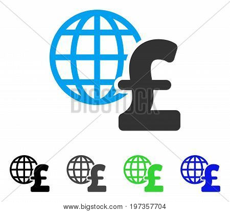 Global Pound Economics flat vector pictogram. Colored global pound economics gray, black, blue, green icon variants. Flat icon style for application design.