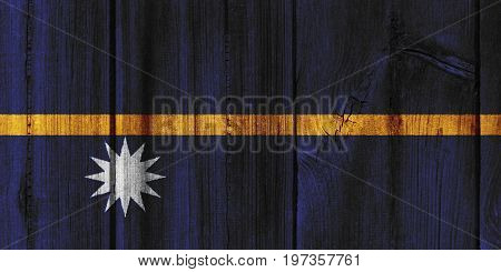 Nauru Flag Painted On Wooden Wall For Background