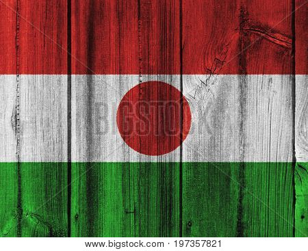 Niger Flag Painted On Wooden Wall For Background
