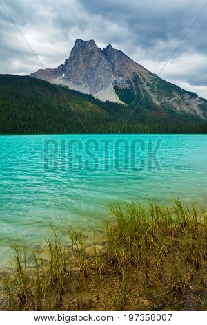 An overcast day at Emerald Lake in Yoho National Park, BC, Canada