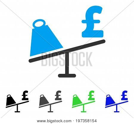 Market Pound Price Swing flat vector pictogram. Colored market pound price swing gray, black, blue, green icon variants. Flat icon style for application design.