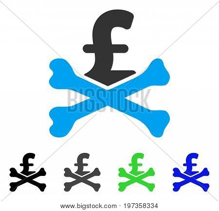 Mortal Pound Debt flat vector pictograph. Colored mortal pound debt gray, black, blue, green pictogram variants. Flat icon style for web design.