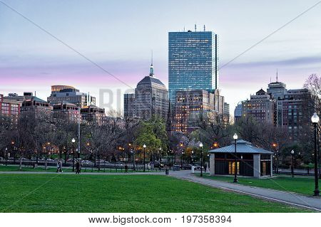 Boston Common Public Park And People Downtown Boston America