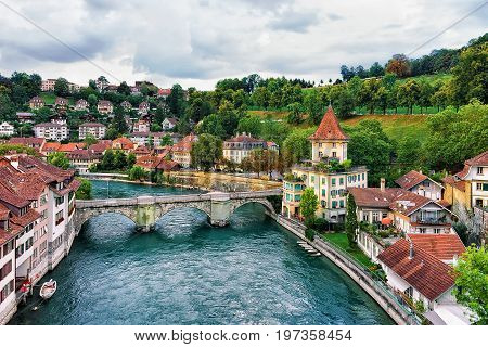 Unterbrucke Bridge Over Aare River In Bern Swiss