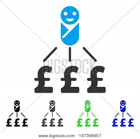 Newborn Pound Expenses flat vector icon. Colored newborn pound expenses gray, black, blue, green icon versions. Flat icon style for graphic design.