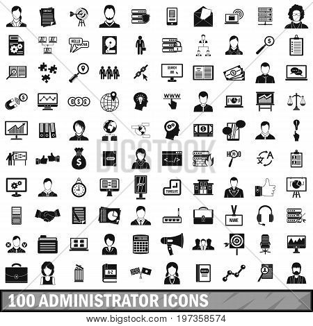 100 administrator icons set in simple style for any design vector illustration
